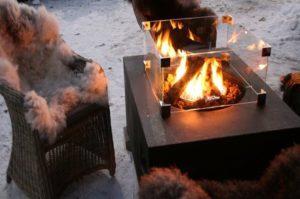 Terrassisoojendi talvel
